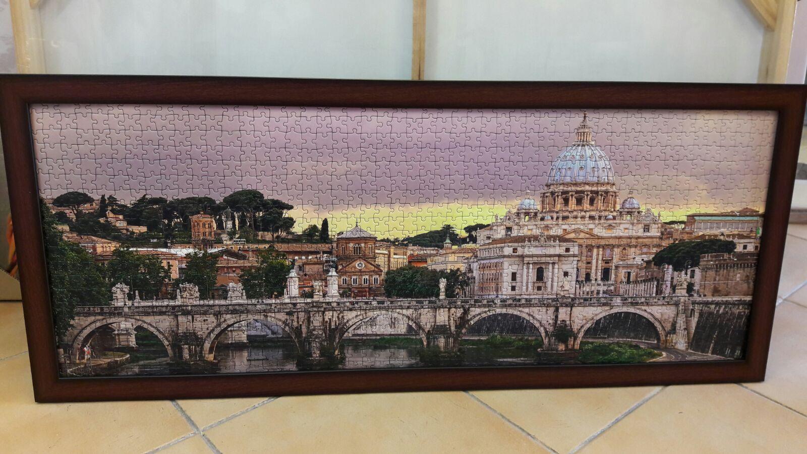 פאזל נוף פנורמי של חברת רוונסבורגר גשר סנטאנג'לו (גשר המלאכים) והותיקן ברומא