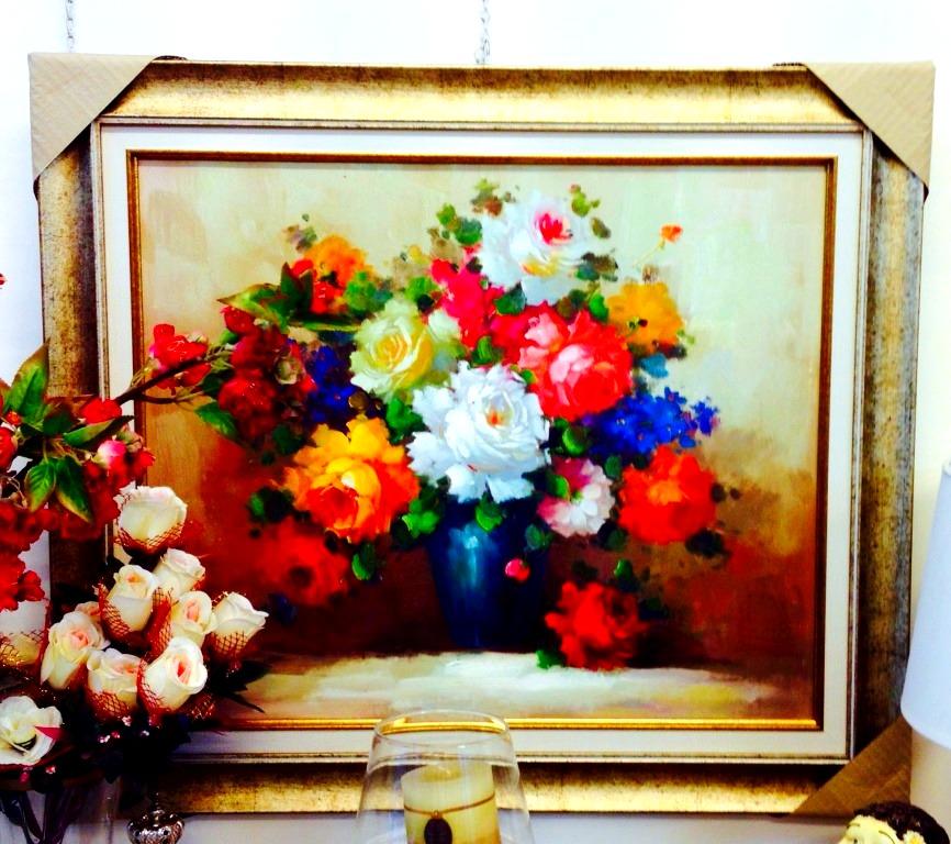 ציורי שמן פרחים על קנבס באגרטל