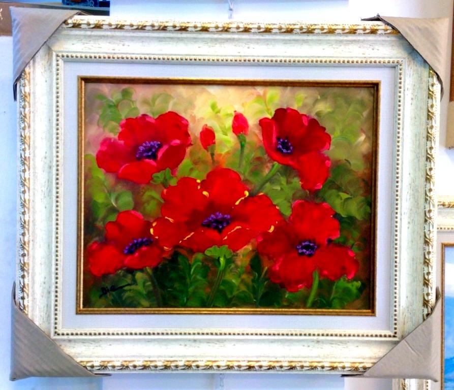 ציורי שמן פרחים אדומים בשדה