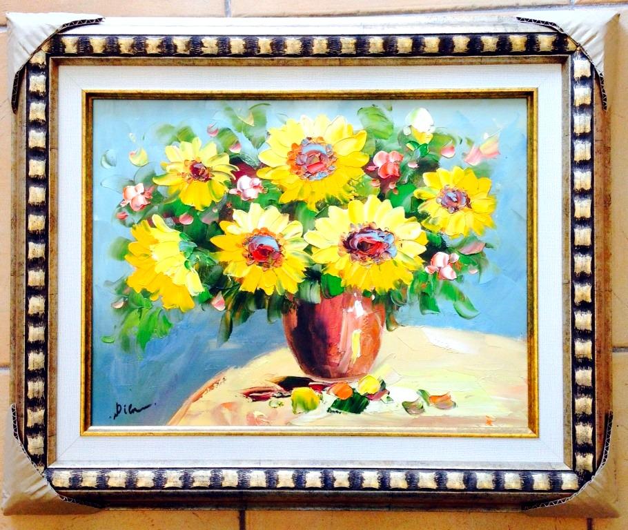 ציורי שמן פרחים צהובים באגרטל