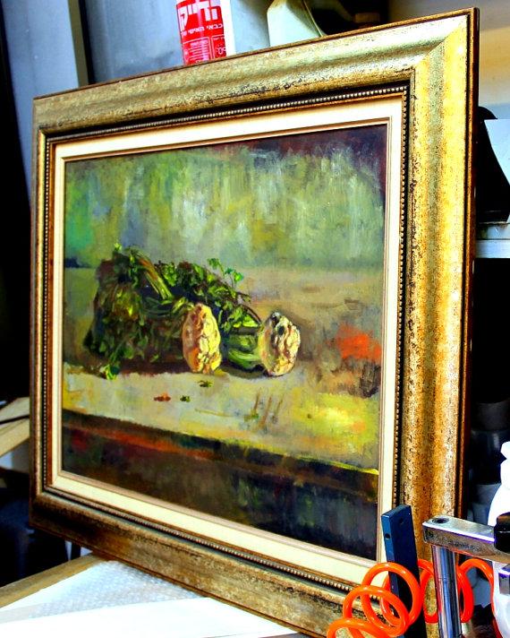 """תמונת שמן סלרי על השולחן - רונן אור ז""""ל"""
