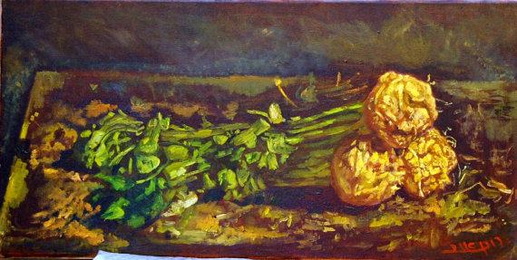 """סלרי על שולחן המטבח - ציור שמן על קנבס - צויר בידי רונן אור ז""""ל"""