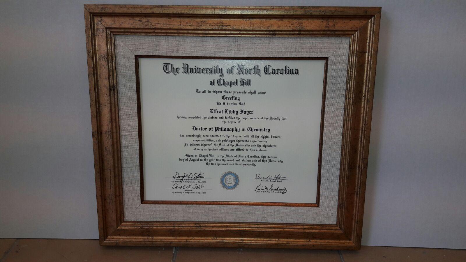 מסגרת תעודת דוקטורט לכימיה מאוניברסיטת צפון קרוליינה