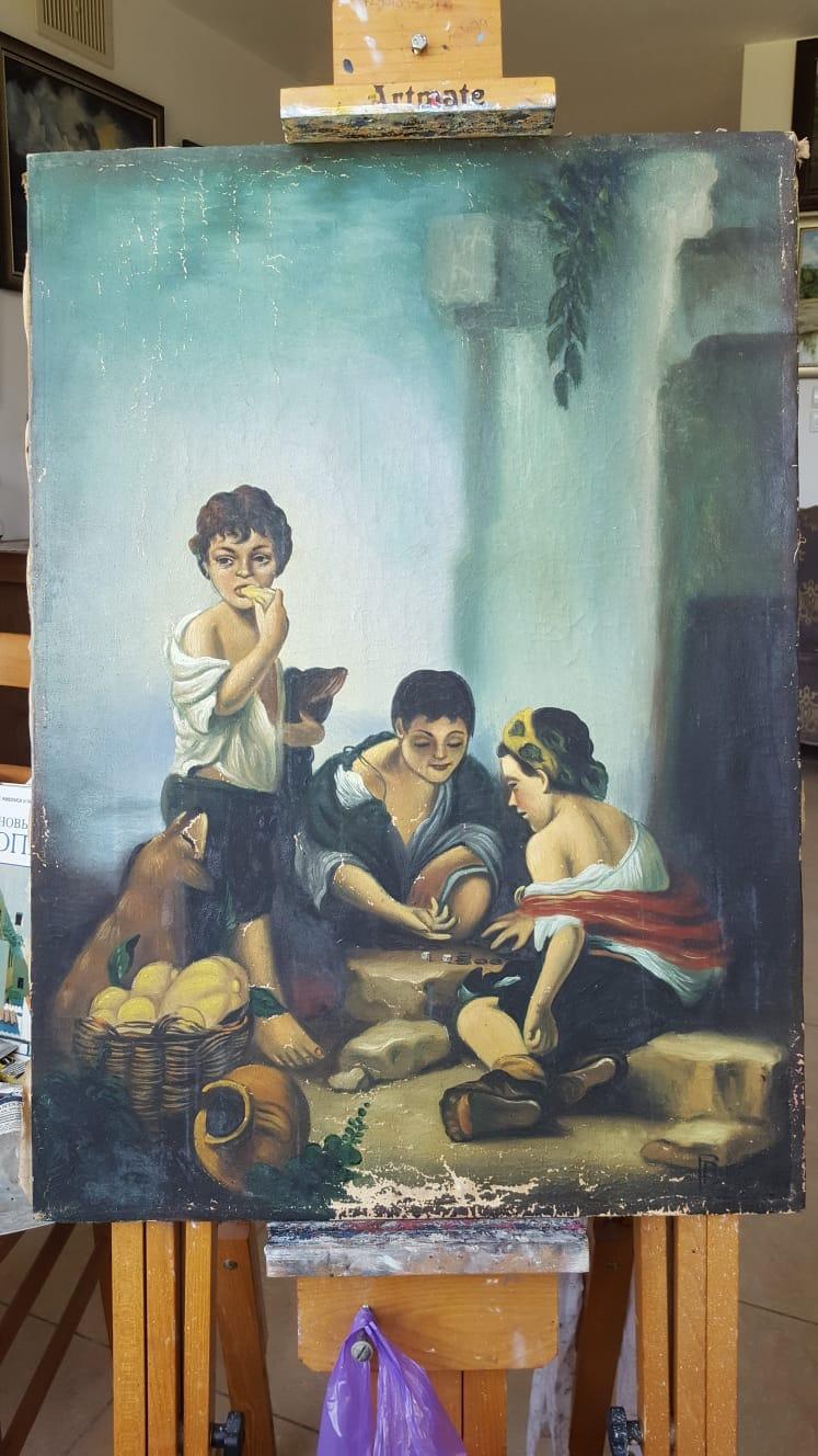 רסטורציה לציור שמן ילדים משחקים וילד אוכל פרי - לפני שחזור התמונה
